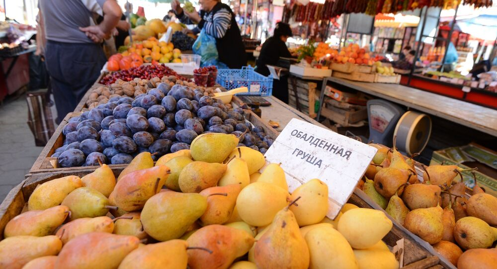 Fruit and vegetables sold at Anapa's city market