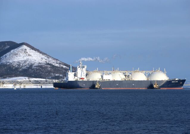 The Grand Aniva gas tanker built by Mitsubishi Heavy Industries Ltd. in Nagasaki