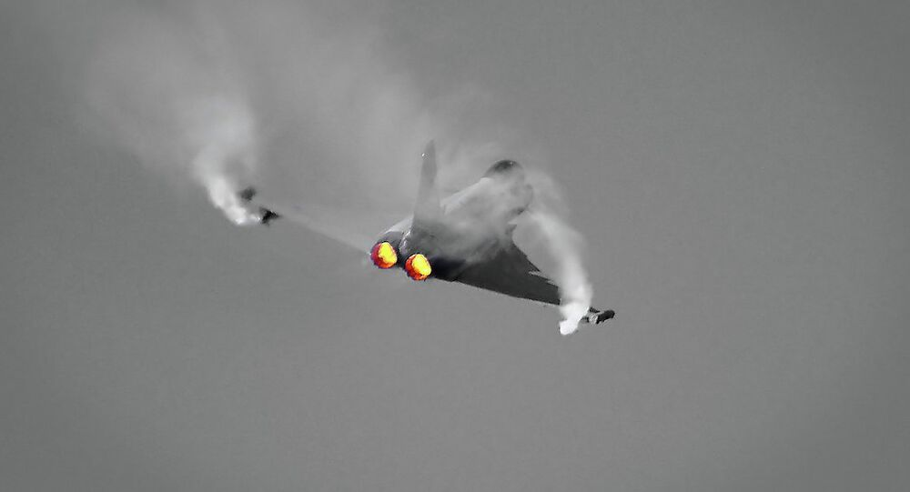 The EuroFighter Typhoon having its throttles pushed through the gate and into the afterburners.