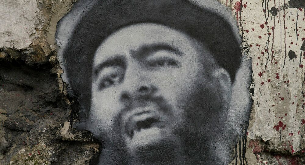 Painted portrait of Abu Bakr al Baghdadi