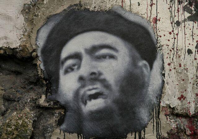Painted portrait of Abu Bakr al Baghdadi