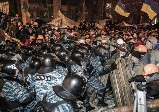 "Riot police ""Berkut"" and anti-government protesters in Maidan square in Kiev, Ukraine"