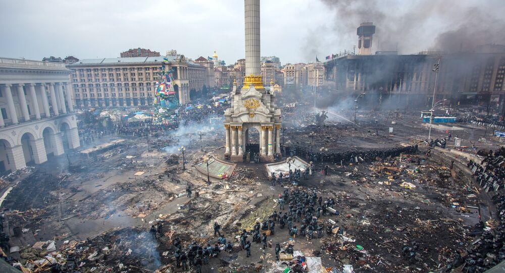 Maidan square in Kiev, Ukraine, Feb 19, 2014