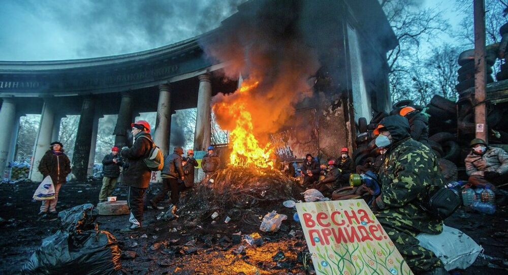KIEV, UKRAINE - JANUARY 24: Barricade with the protesters at Hrushevskogo street on January 26, 2014 in Kiev, Ukraine.