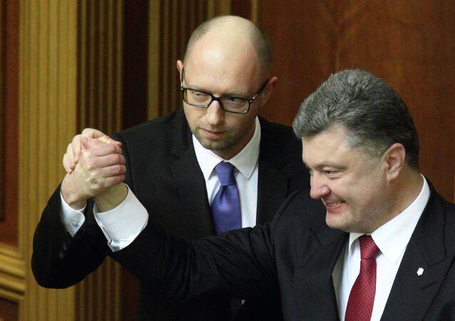 Inaugural session of Verkhovna Rada parliament, Kiev, Ukraine - 27 Nov 2014 Arseniy Yatsenyuk and Petro Poroshenko 27 Nov 2014