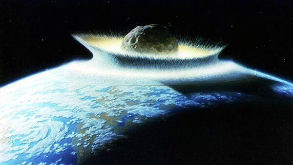Artist's impression of an asteroid hitting Earth - Sputnik International
