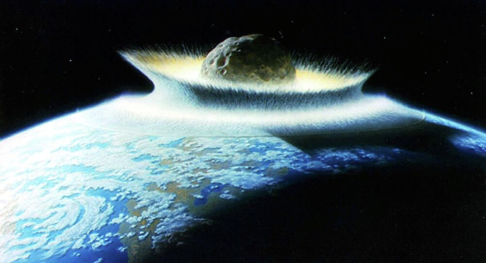 Artist's impression of an asteroid hitting Earth