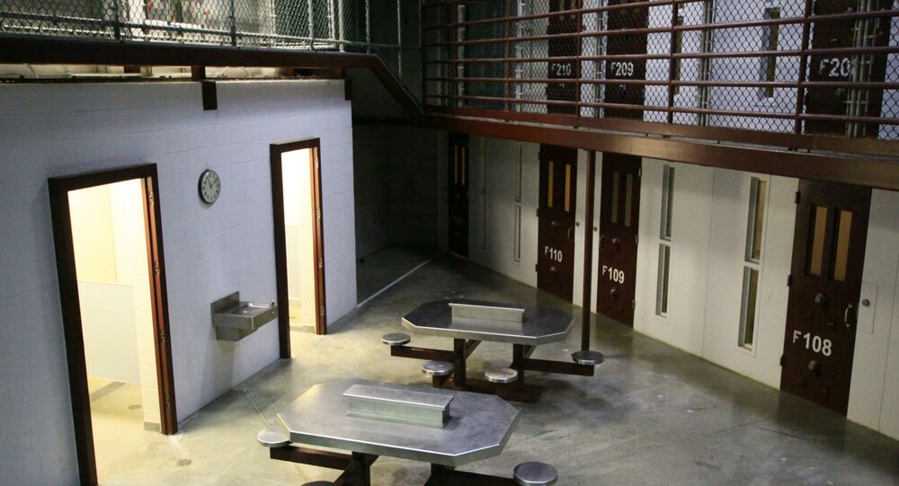The interior of a communal cellblock at Camp VI, a prison used to house detainees at the U.S. Naval Base at Guantanamo Bay