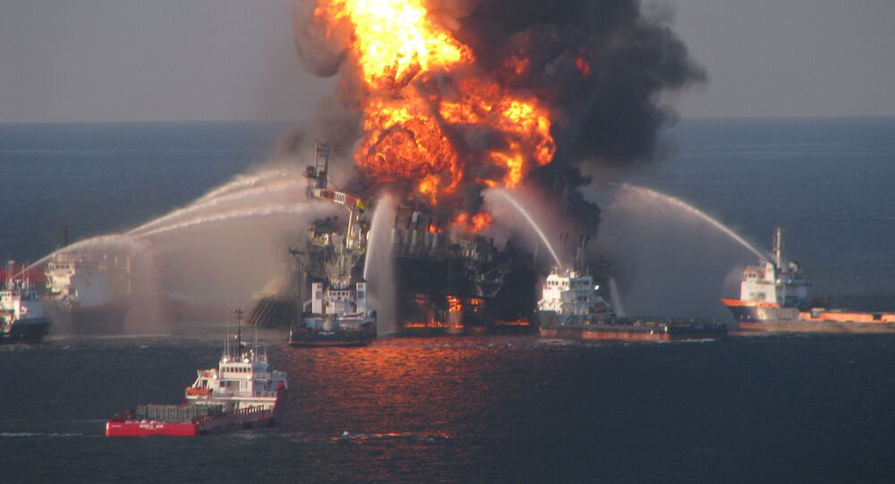 Fire boat response crews battle the blazing remnants of the off shore oil rig Deepwater Horizon on April 21, 2010.