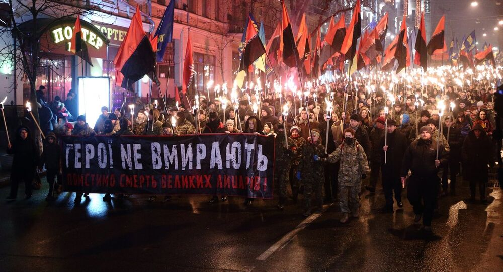 Torch procession in Kiev commemorating Stepan Bandera, leader of the Organization of Ukrainian Nationalists, January 1, 2015.