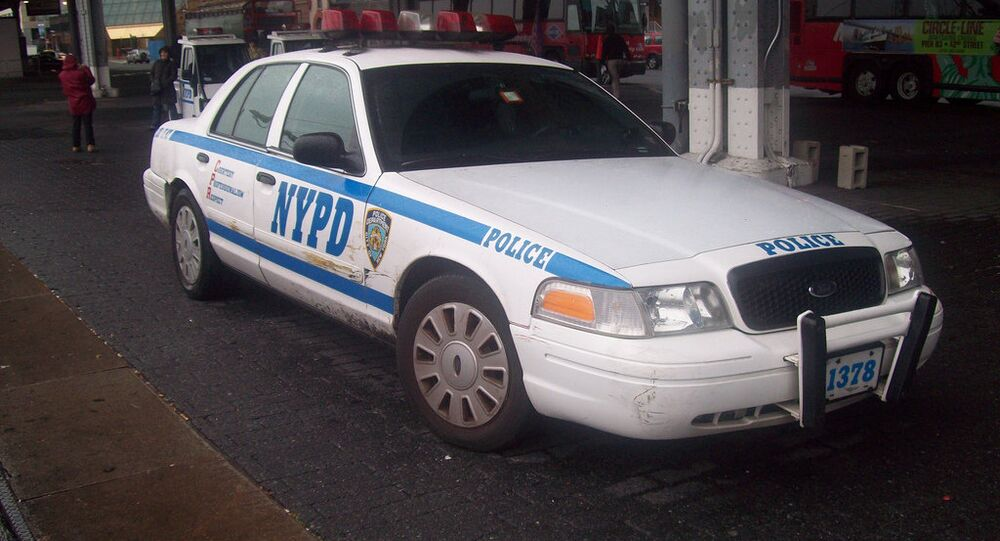 An NYPD patrol car stopped in New York