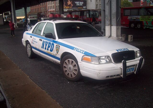 An NYPD patrol car stopped in New York.