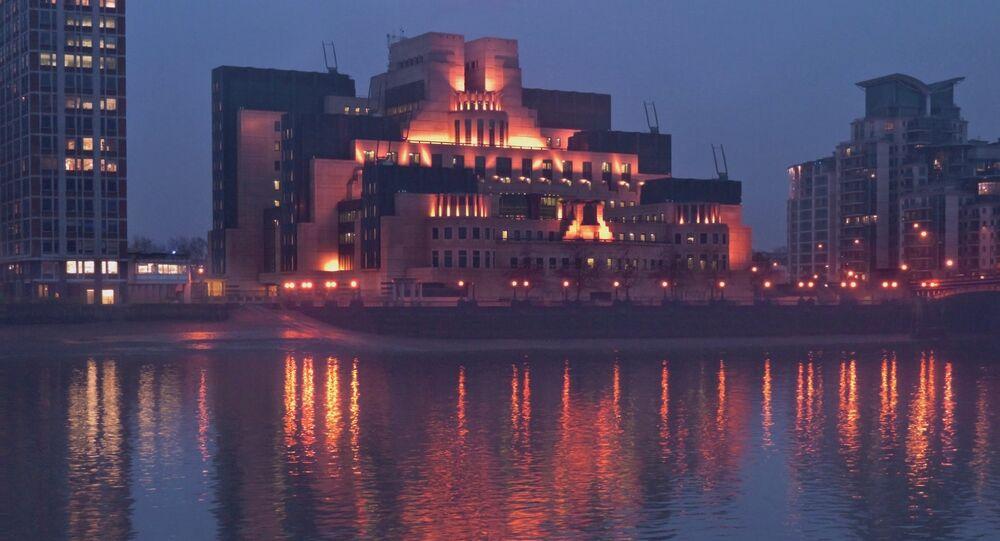 MI5 lit up at night