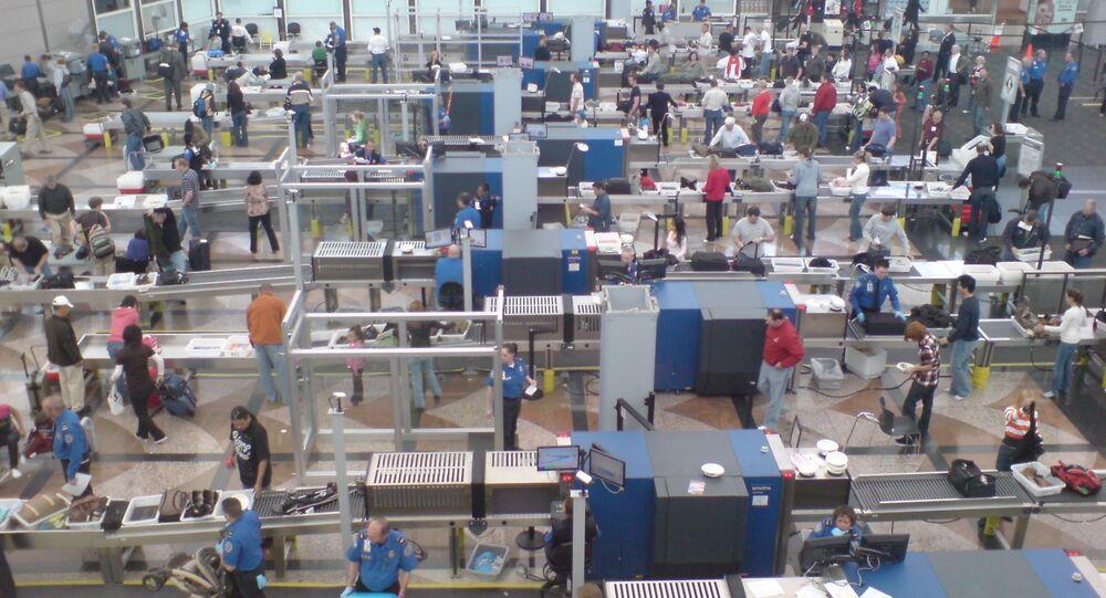 Security screening at Denver Airport.