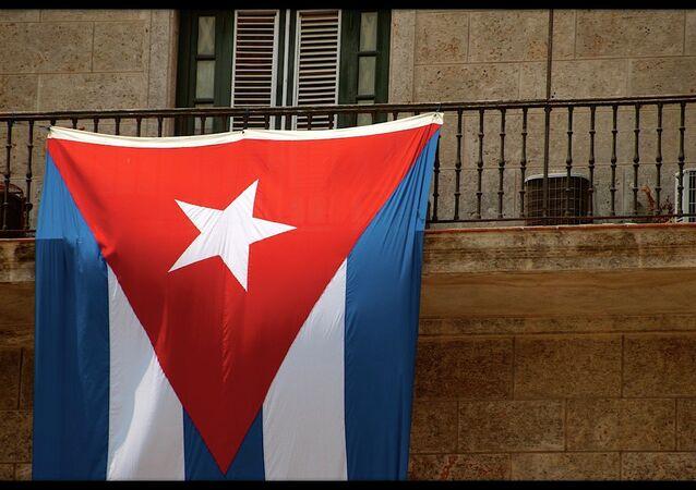Cuban flag hanging in Havana