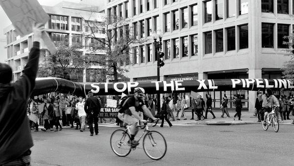 Keystone XL Pipeline protest at White House on November 6, 2011 - Sputnik International