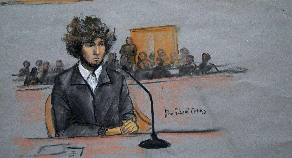 Courtroom sketch of Boston Marathon bombing suspect Dzhokhar Tsarnaev.