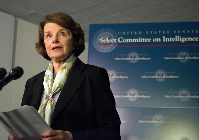 Senate Intelligence Committee Chair Senator Dianne Feinstein speaks after a closed-door meeting on Capitol Hill in Washington, Thursday, April 3, 2014.