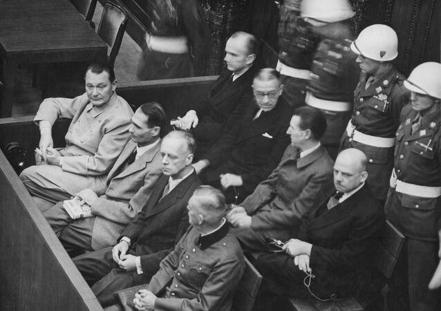 Defendants at the Nuremberg Trials.