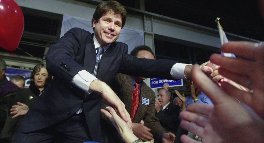 Then-U.S. Rep. Rod Blagojevich thanks supporters at his election night party in Chicago, March 19, 2002, after he received his party's nomination for governor. Blagojevich would later be sentenced to 14 years in prison for blatant corruption.