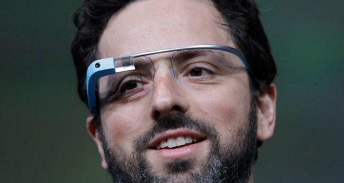 Sergey Brin, co-founder of Google, wears Google Glass