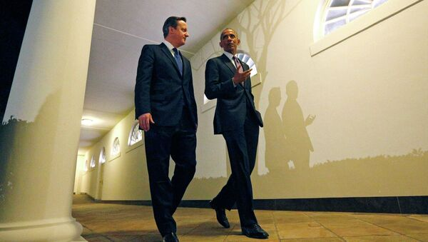 Prime Minister Cameron and President Obama outside the West Wing of the White House. - Sputnik International