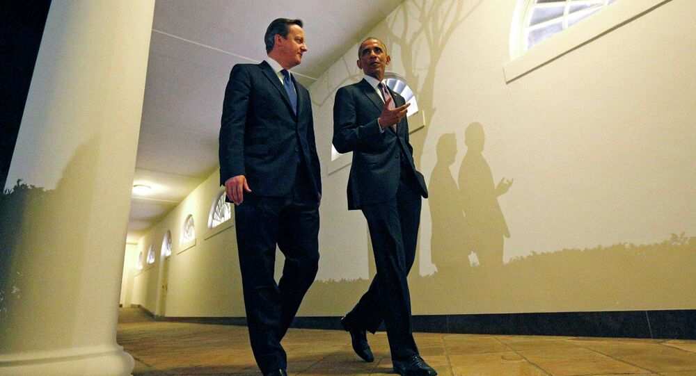 Prime Minister Cameron and President Obama outside the West Wing of the White House.