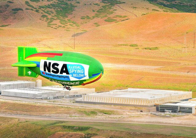 The environmental group Greenpeace flew an airship over the National Security Agency's UTAH Data Center in Bluffdale to protest the government's mass surveillance program.