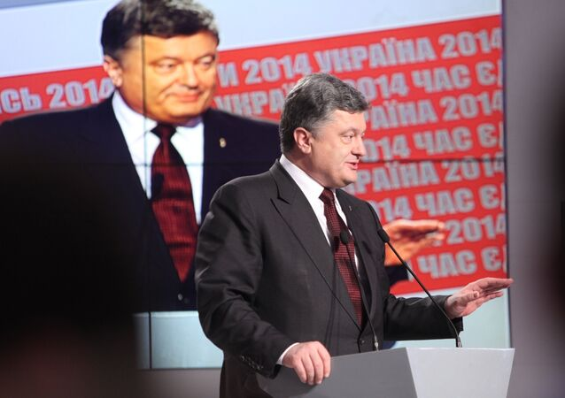 Ukrainian President Petro Poroshenko at a briefing after the early elections for deputies of Ukraine's Parliament