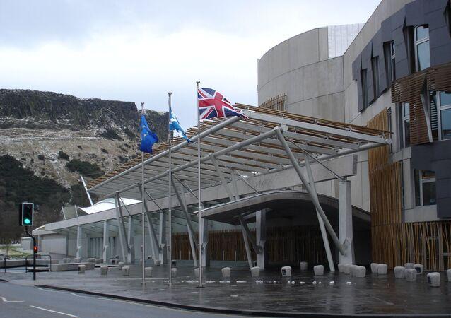 Flags in front of Scotland's Parliament. Edinburgh, 2006