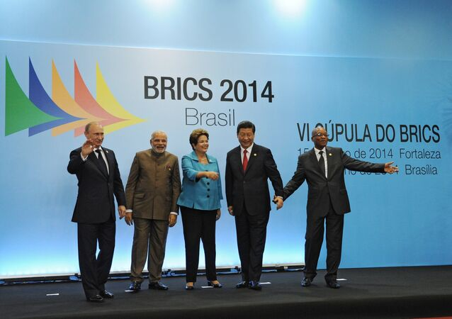 On July 15, 2014, BRICS leaders -- Russian President Vladimir Putin, Indian Prime Minister Narendra Modi, Brazilian President Dilma Rousseff, Chinese President Xi Jinping and South African President Jacob Zuma (from left to right) -- pose for a group photo in the Congress Center in Fortaleza.