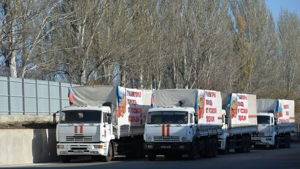 The trucks that have delivered humanitarian aid to Luhansk in southeastern Ukraine are done unloading their cargo and are headed for the Russian border. - Sputnik International