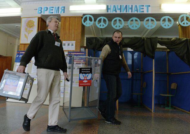 East Ukrainian city of Donetsk on the eve of November 2 elections.
