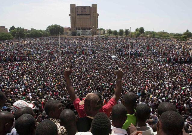 Anti-government protesters gather in the Place de la Nation in Ouagadougou, capital of Burkina Faso