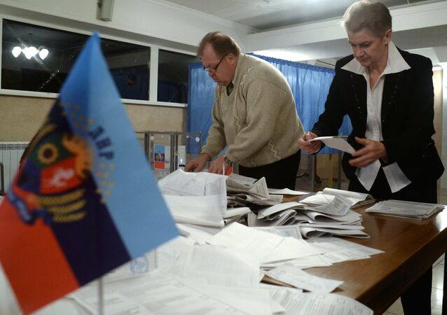 Counting ballots during election in the Donetsk People's Republic (DPR)