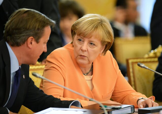 Federal Chancellor of Germany Angela Merkel and British Prime Minister David Cameron attend a working meeting of G20 heads of state and government, heads of invited states and international organizations.