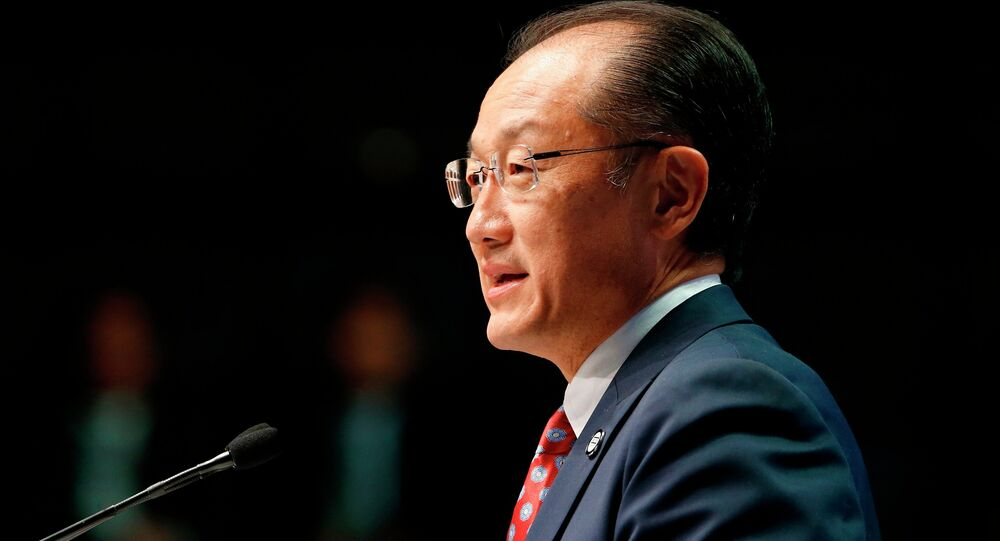 World Bank President Jim Yong Kim delivers remarks at the plenary session at the IMF-World Bank annual meetings at Constitution Hall in Washington October 10, 2014