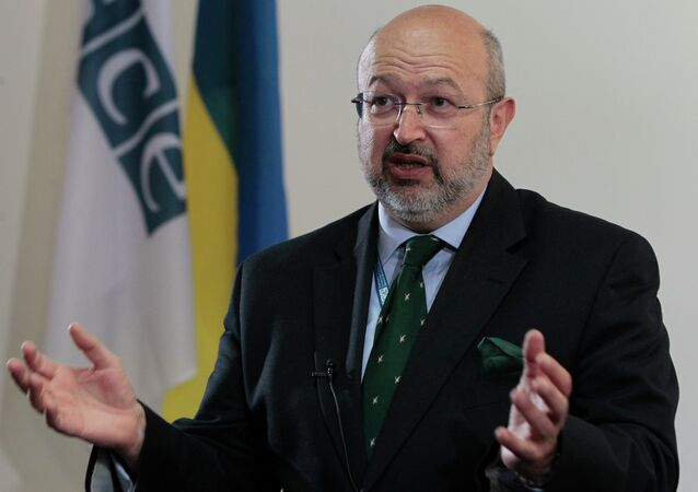 Organization for Security and Cooperation in Europe (OSCE) Secretary General Lamberto Zannier speaks during an interview with The Associated Press in Kiev, Ukraine, Friday, May 9, 2014