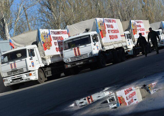 Russian humanitarian aid convoy reaches Donetsk