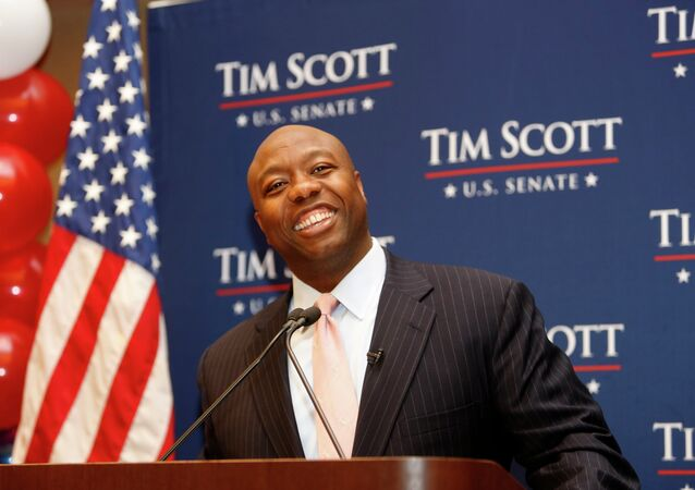 Sen. Tim Scott, R-S.C. speaks to supporters after winning his Senate race over challengers Jill Bossi and Joyce Dickerson, Tuesday, Nov. 4, 2014