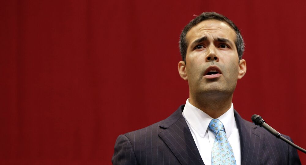 George P. Bush delivers his victory speech after winning the race for Texas land commissioner