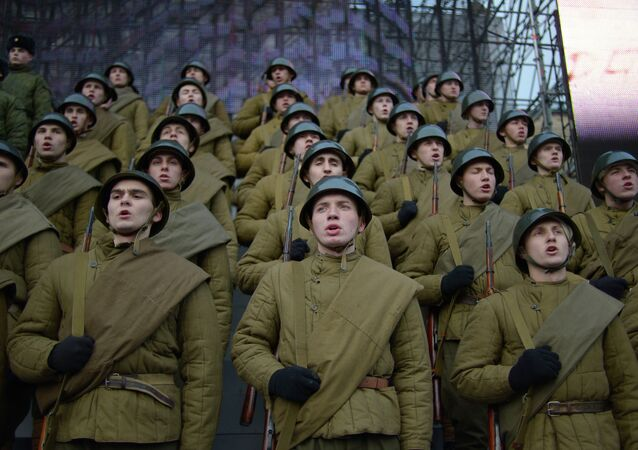 Rehearsal of march to celebrate 1941 military parade in Red Square