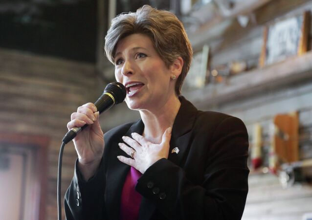 Republican Senate candidate Joni Ernst speaks during a campaign stop in Council Bluffs, Iowa, Friday, Oct. 31, 2014