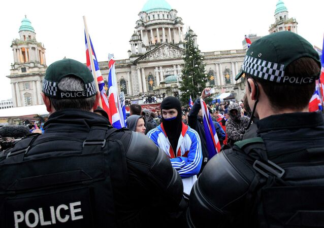 Protesters blocked the road in front of City Hall in Belfast