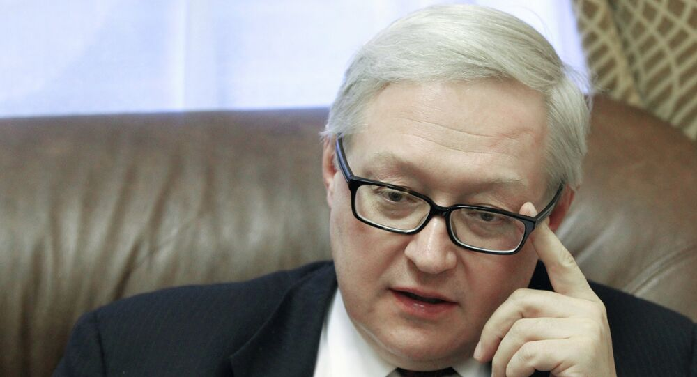 Russian Deputy Foreign Minister Sergei Ryabkov answers journalists' questions during an interview