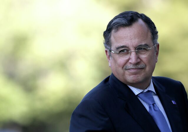 Egyptian Foreign Minister Nabil Fahmy arrives at an EU-Arab league Foreign Ministers summit, in Athens