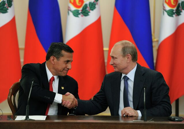 Russian President Vladimir Putin, right, and President of Peru Ollanta Humala during the joint statement for the press on the results of the Novo-Ogaryovo meeting