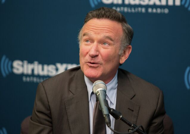 This Sept. 25, 2013 photo released by SiriusXM radio shows Robin Williams during the Entertainment Weekly Radio town hall in New York.