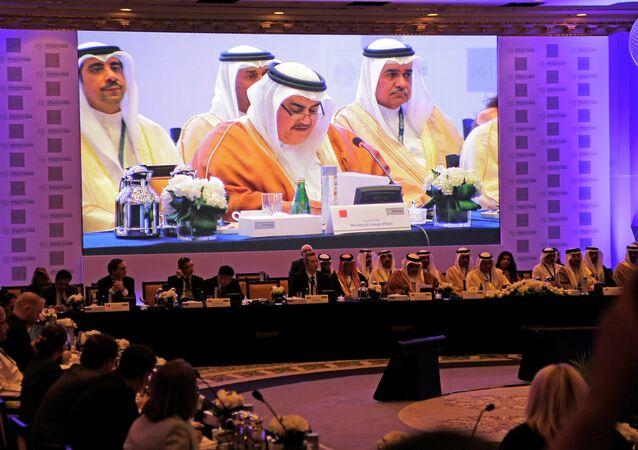 Bahraini Foreign Minister Sheik Khalid bin Ahmed Al Khalifa