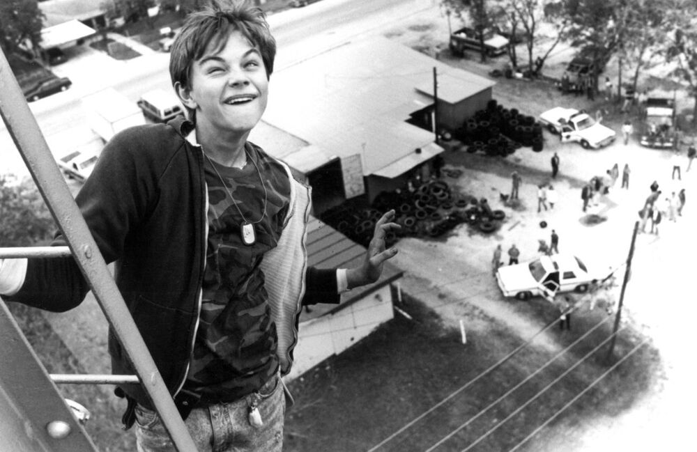 Юный Леонардо на съемках фильма Что гложет Гилберта Грейпа